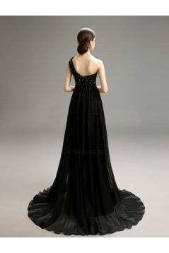 A-Line One-Shoulder Beaded Long Black Chiffon Prom Evening Formal Party Dresses ED010721
