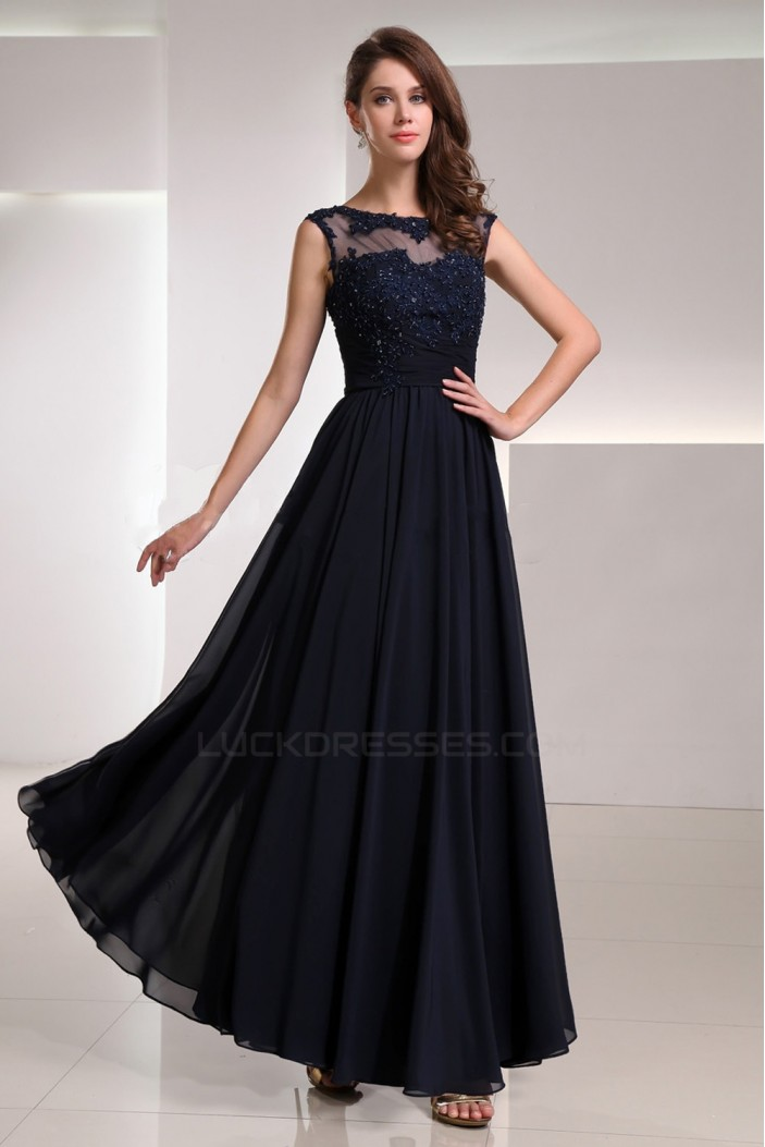A-Line Bateau Beaded Applique Long Navy Blue Chiffon Prom Evening Formal Party Dresses ED010722