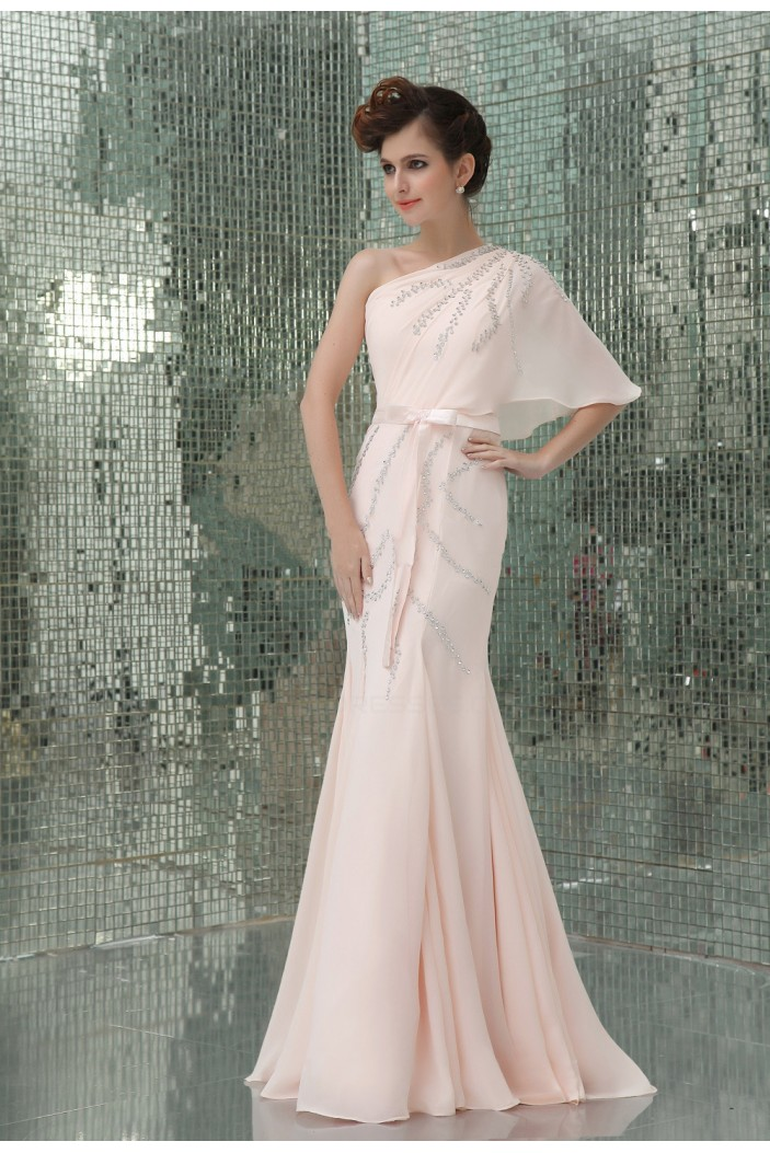 Trumpet/Mermaid One-Shoulder Sequin Long Pink Chiffon Prom Evening Formal Party Dresses ED010723