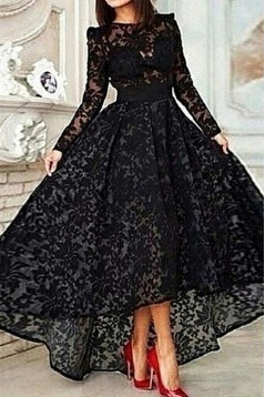 Vinatge Long Sleeve Asymmetrical Black Lace Evening Dress ED010725
