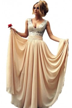 A-Line V-Neck Sequins Chiffon Long Prom Evening Party Dresses ED010726