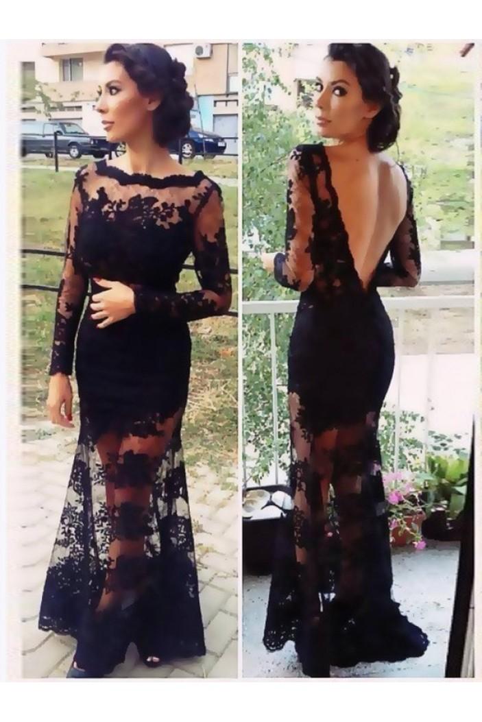 Long Sleeve Lace Black Low V-Back Evening Formal Party Dresses ED010727