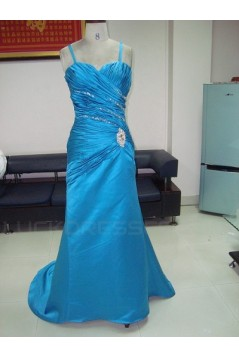 Spaghetti Strap Beaded Long Blue Prom Evening Formal Party Dresses ED010728
