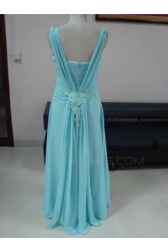 Sheath/Column Long Blue Chiffon Prom Evening Formal Party Dresses ED010732