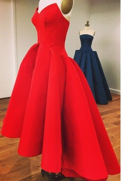 Real Pictures Strapless A-Line High Low Red Prom Dresses ED010737