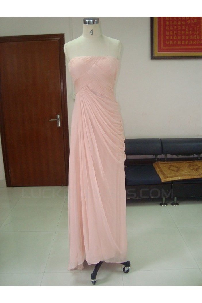 Sheath/Column Strapless Long Pink Chiffon Prom Evening Formal Party Dresses ED010740