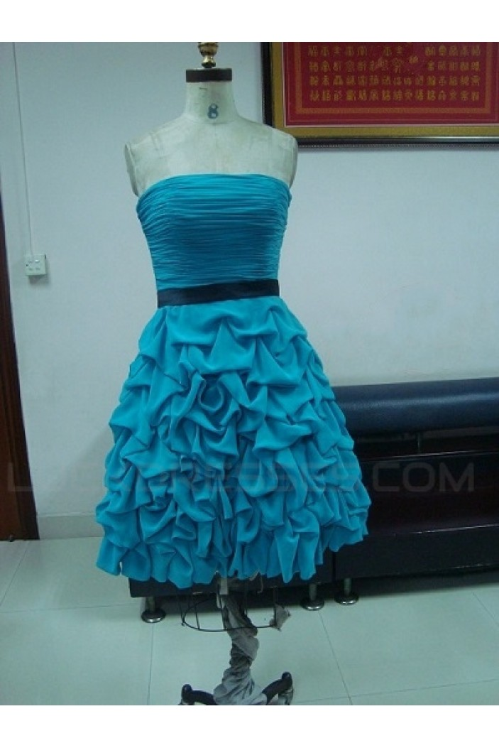 Short Strapless Pleated Prom Evening Formal Party Dresses ED010742
