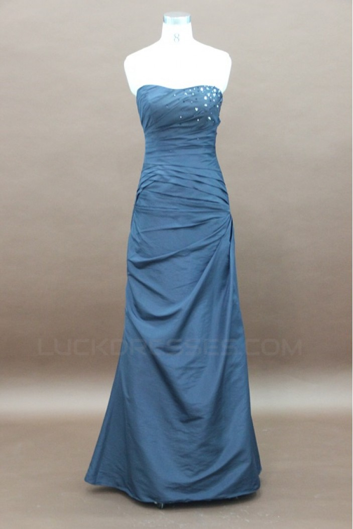 A-Line Strapless Long Beaded Prom Evening Formal Party Dresses ED010745