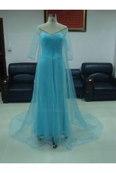 V-Neck Half Sleeve Beaded Long Blue Prom Evening Formal Party Dresses ED010750