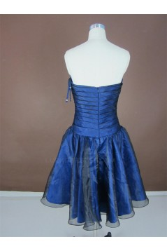 A-Line Strapless Short Blue Prom Evening Formal Party Dresses ED010754