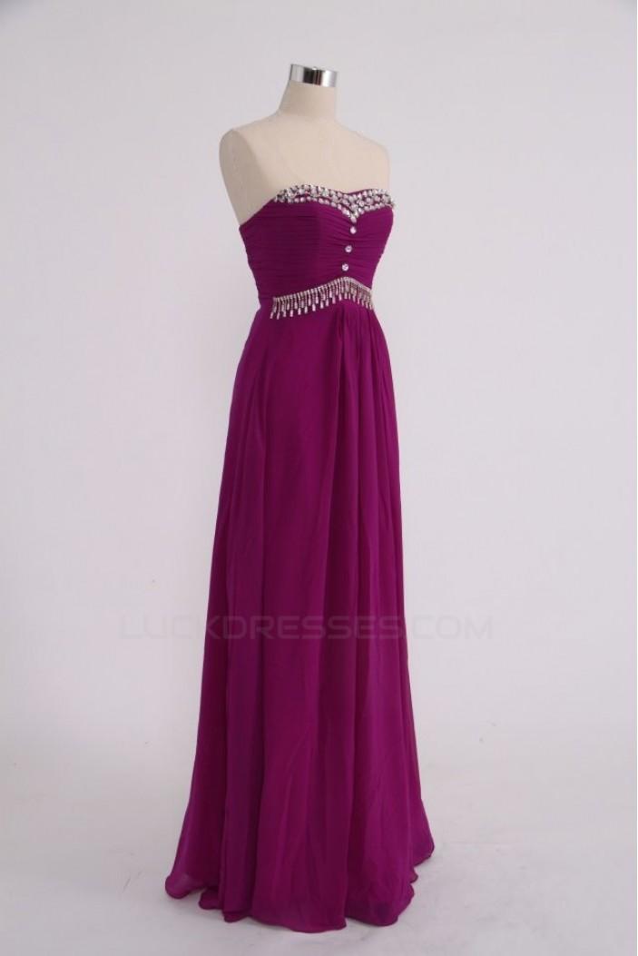 Sheath/Column Strapless Beaded Long Chiffon Prom Evening Formal Party Dresses ED010757