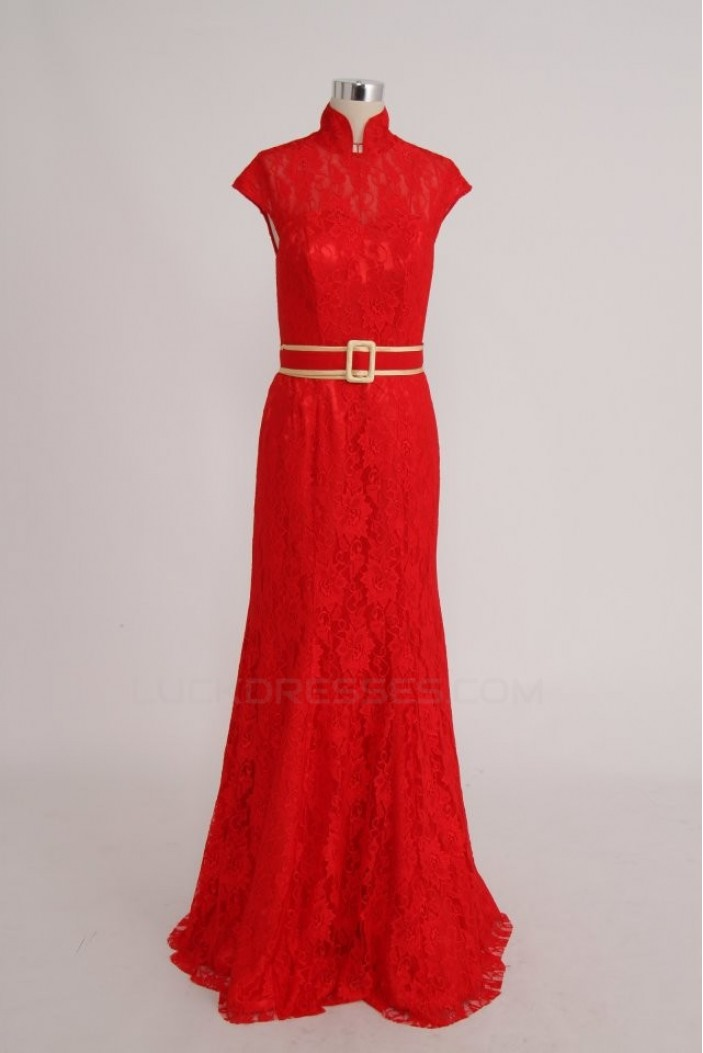 High Neck Long Red Lace Prom Evening Formal Party Dresses ED010758