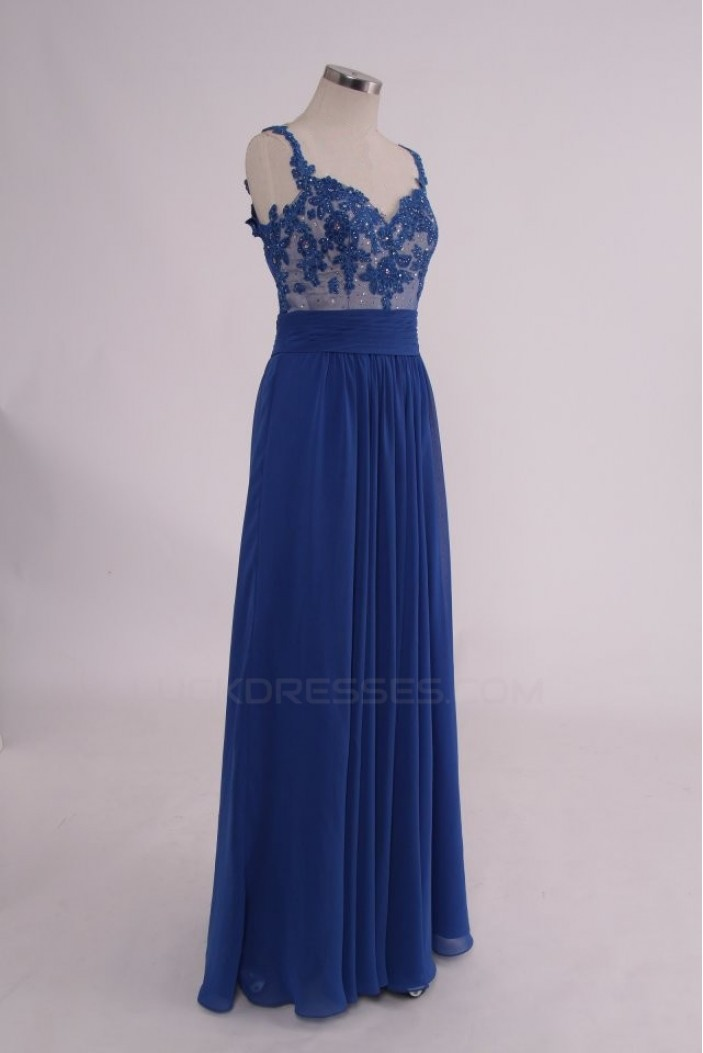 A-Line Long Blue Sequin Applique Chiffon Prom Evening Formal Party Dresses ED010759