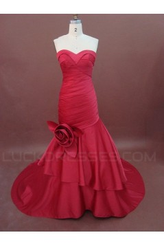 Trumpet/Mermaid Sweetheart Long Red Prom Evening Formal Party Dresses ED010762