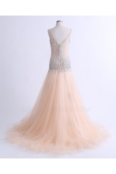 A-Line Beaded Long Prom Evening Formal Party Dresses ED010764