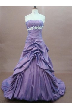 A-Line Strapless Court Train Long Prom Evening Formal Party Dresses ED010766
