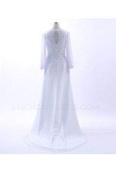 Sheath Long Sleeve Long White Prom Evening Formal Party Dresses ED010767