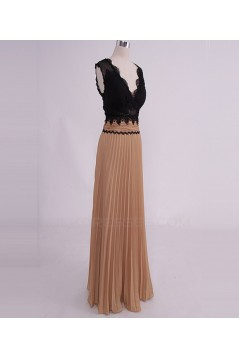 A-Line V-Neck Lace and Chiffon Pleated Long Prom Evening Formal Party Dresses ED010768