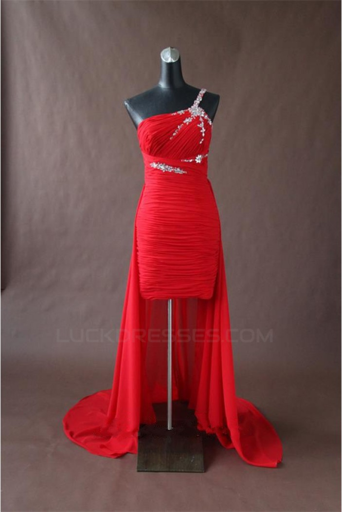 High Low One-Shoulder Beaded Red Chiffon Prom Evening Formal Party Dresses ED010770