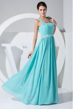 A-Line Straps Sleeveless Long Blue Chiffon Prom Evening Dresses ED010776