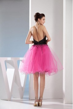 Beaded Sweetheart Black Pink Short Cocktail Party Dresses ED010777
