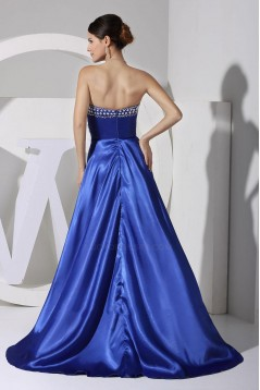 High Low Sweetheart Beaded Blue Prom Evening Dresses ED010779