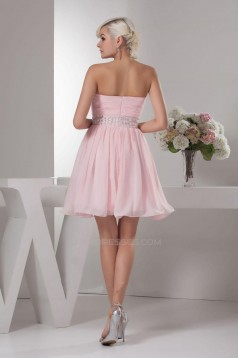 A-Line Sweetheart Short Pink Beaded Cocktail Homecoming Prom Evening Dresses ED010780