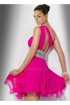 A-Line One-Shoulder Short Pink Cocktail Homecoming Prom Evening Dresses ED010781