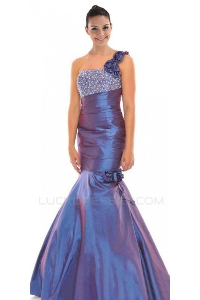 Trumpet/Mermaid One-Shoulder Beaded Taffeta Long Prom Evening Dresses ED010783