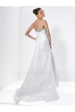A-Line Sweetheart Split-Front Beaded Long Chiffon Prom Evening Dresses ED010784