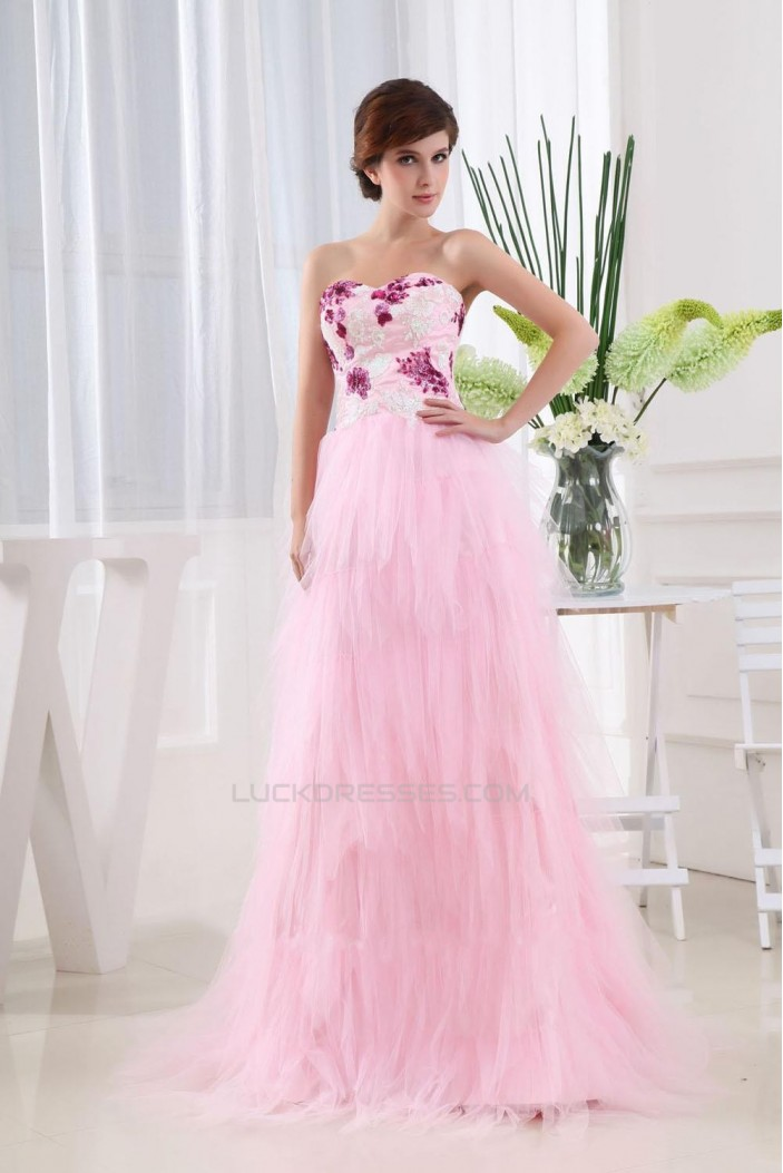 A-Line Long Pink Prom Evening Dresses ED010786