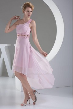 High Low One-Shoulder Beaded Pink Chiffon Prom Evening Dresses ED010788