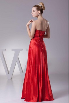 A-Line Strapless Pleated Long Red Prom Evening Dresses ED010789