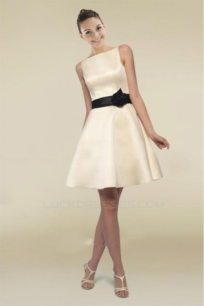A-Line Bateau Short Prom Evening Bridesmaid Dresses ED010793