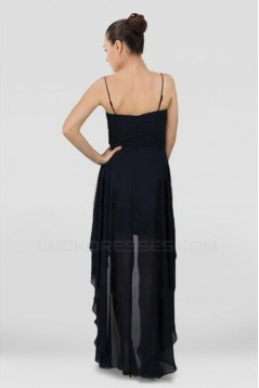 High Low Spaghetti Strap Beaded Black Chiffon Prom Evening Dresses ED010801