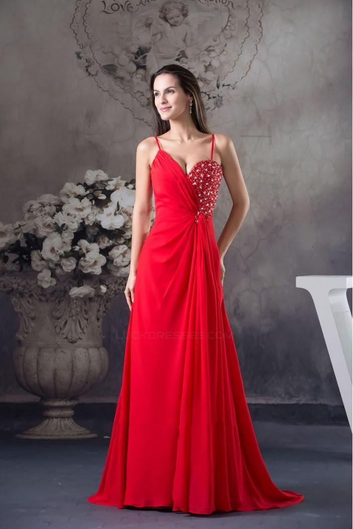 A-Line Spaghetti Strap Long Red Chiffon Beaded Prom Evening Dresses ED010802