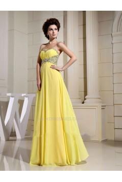 Empire Sweetheart Beaded Long Yellow Chiffon Prom Evening Dresses ED010803