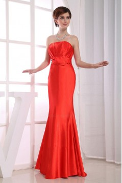 Trumpet/Mermaid Strapless Long Red Prom Evening Bridesmaid Dresses ED010804