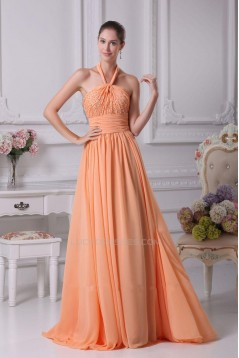 A-Line Halter Beaded Long Chiffon Prom Evening Dresses ED010805