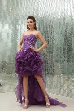 High Low Sweetheart Beaded Purple Prom Evening Dresses ED010806