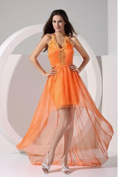 High Low V-Neck Lace and Chiffon Prom Evening Dresses ED010807