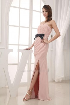 Sheath Strapless Split-Front Long Chiffon Prom Evening Dresses ED010808