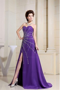 A-Line Sweetheart Beaded Long Purple Chiffon Prom Evening Dresses ED010810
