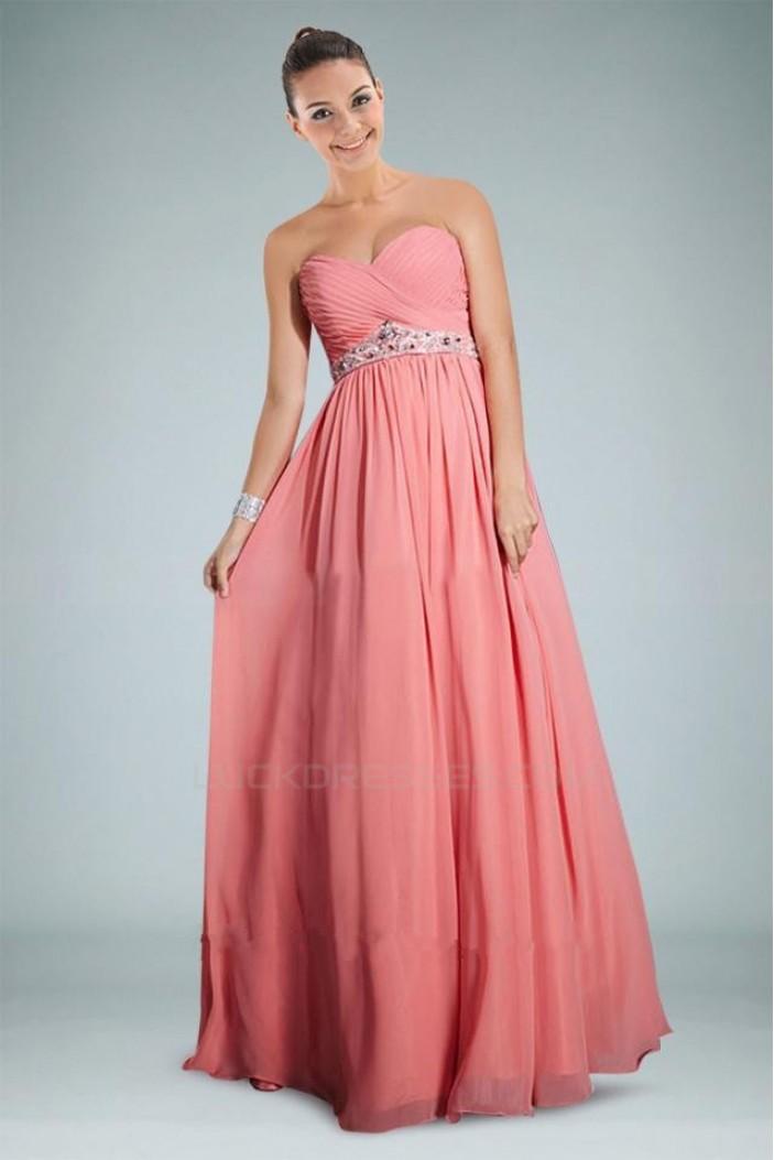 A-Line Sweetheart Beaded Long Pink Chiffon Prom Evening Dresses ED010812
