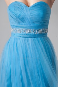 Short Sweetheart Beaded Blue Tulle Cocktail Homecoming Prom Evening Dresses ED010813