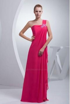 Sheath/Column One-Shoulder Long Chiffon Prom Evening Dresses ED010814