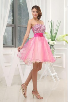 A-Line Strapless Beaded Short Tulle Prom Evening Dresses ED010815