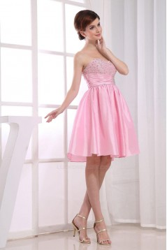 A-Line Sweetheart Beaded Short Pink Prom Evening Dresses ED010816