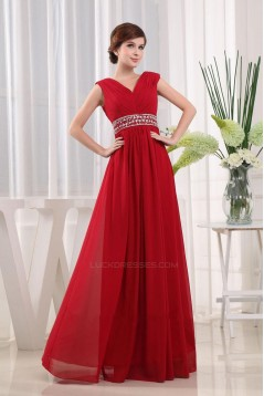 A-Line Beaded Long Red Chiffon Prom Evening Dresses ED010817