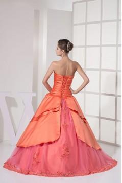 Elegant Sweetheart Beaded Applique Long Prom Evening Dresses ED010818